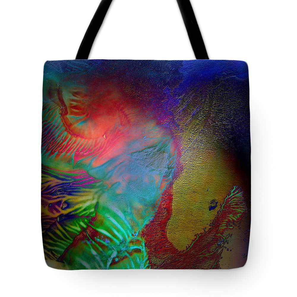 Surrealism Tote Bag featuring the digital art Topology Of Decalcomania by Otto Rapp