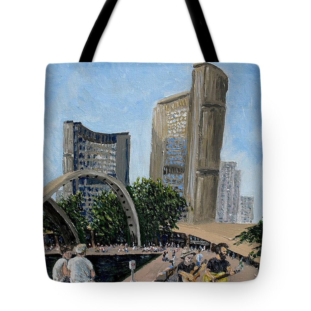 Toronto Tote Bag featuring the painting Toronto City Hall by Ian MacDonald