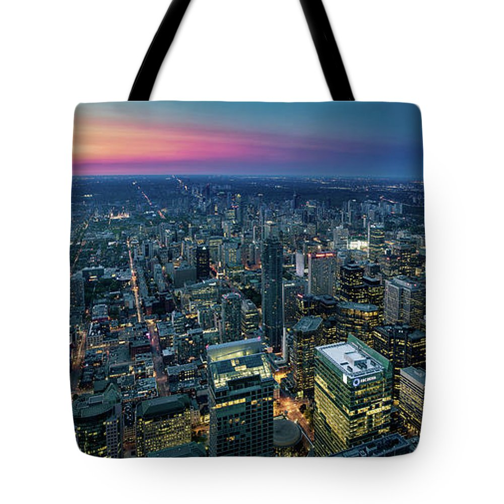 Downtown District Tote Bag featuring the photograph Toronto Downtown City At Night by D3sign