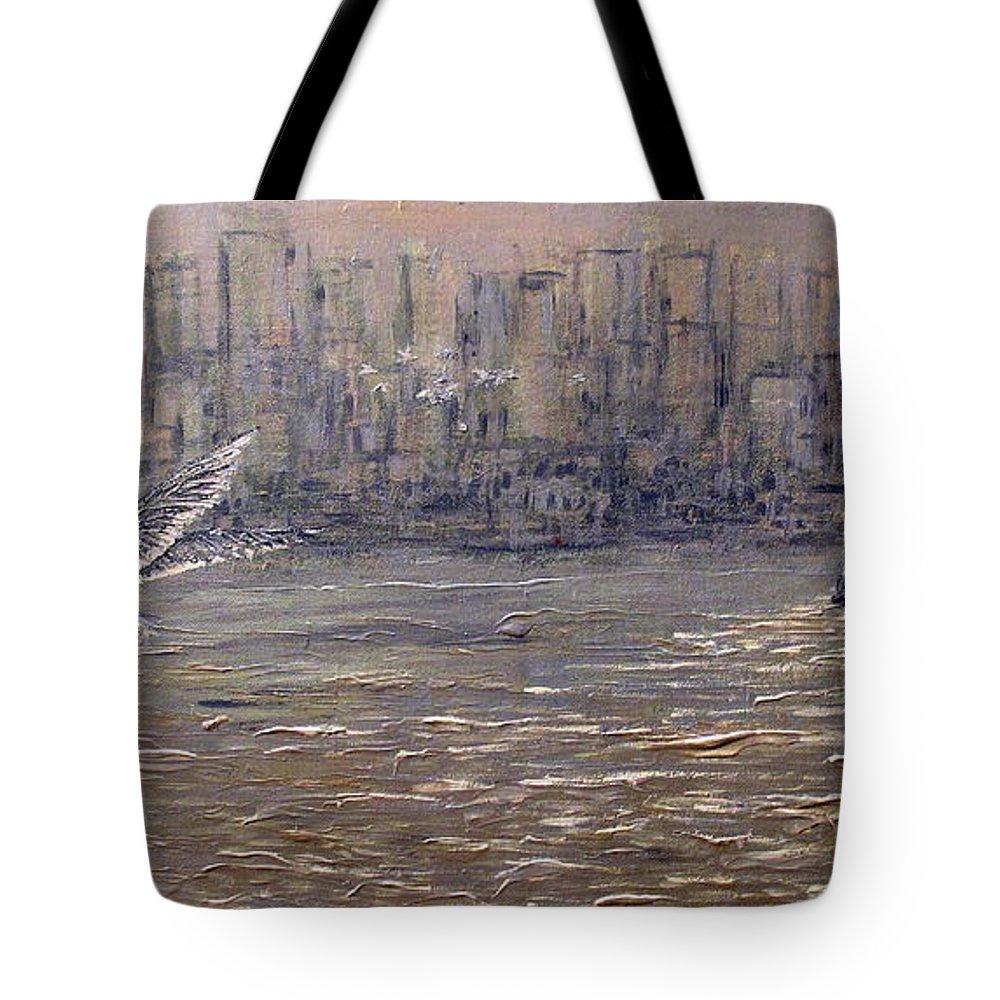 Toronto Tote Bag featuring the painting Toronto Harbor Morning by Ian MacDonald
