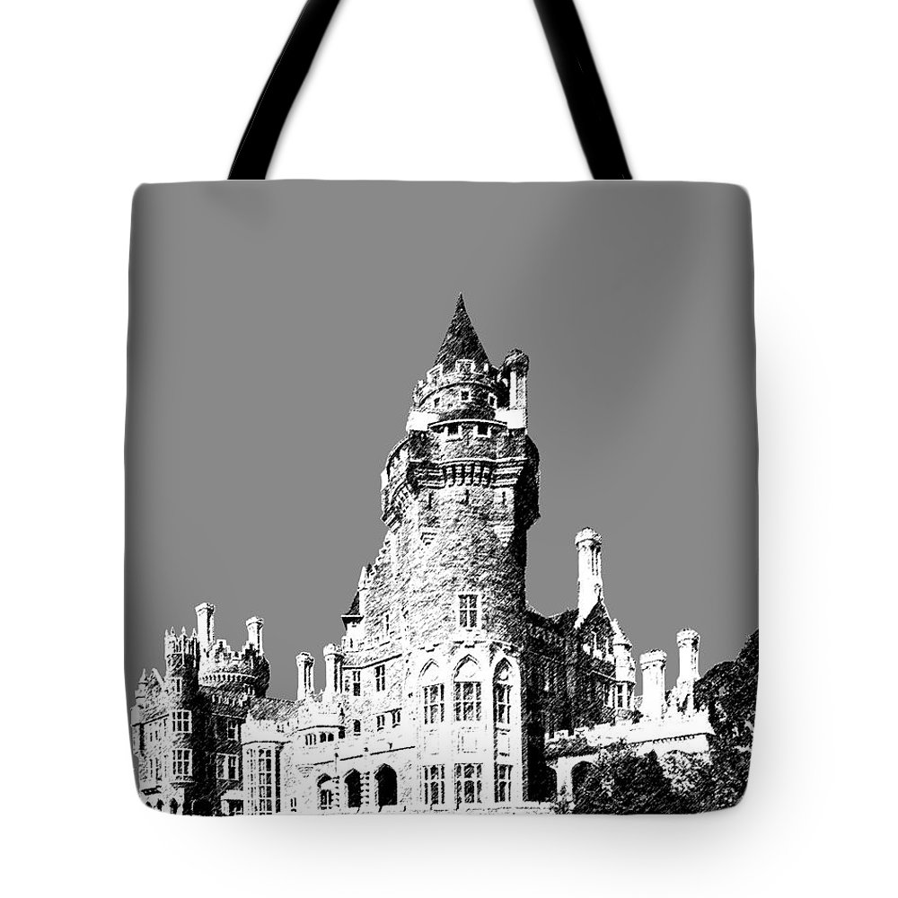 Architecture Tote Bag featuring the digital art Toronto Skyline Casa Loma - Pewter by DB Artist