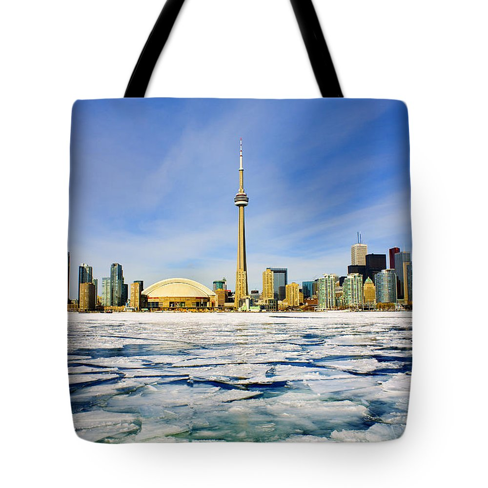Light Tote Bag featuring the photograph Toronto Skyline In Winter by Peter Mintz
