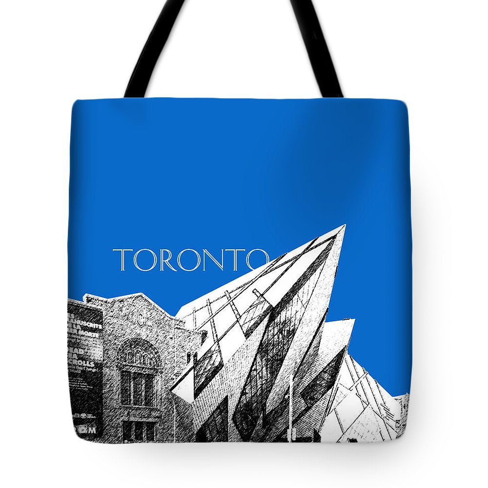 Architecture Tote Bag featuring the digital art Toronto Skyline Royal Ontario Museum - Blue by DB Artist