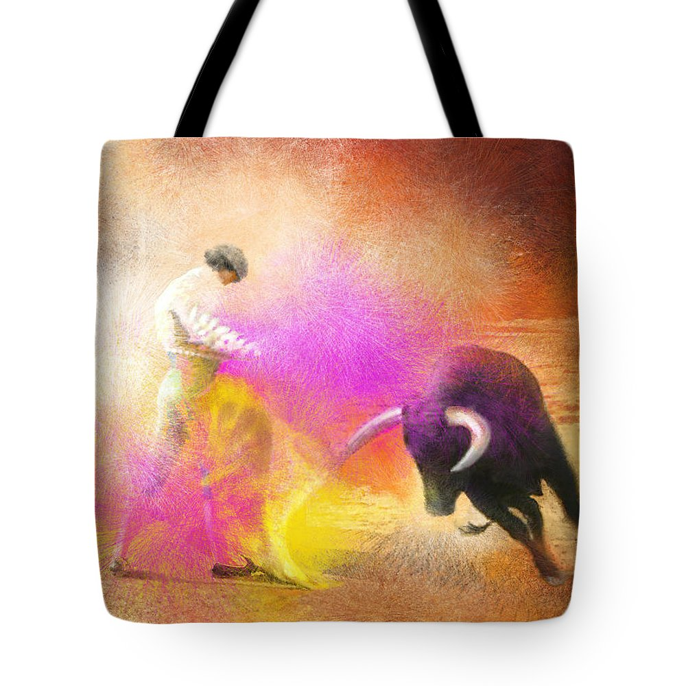 Bullfight Tote Bag featuring the painting Toroscape 55 by Miki De Goodaboom