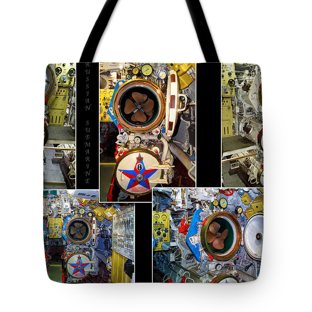 Submarine Tote Bag featuring the photograph Torpedo Tubes Collage Russian Submarine by Thomas Woolworth