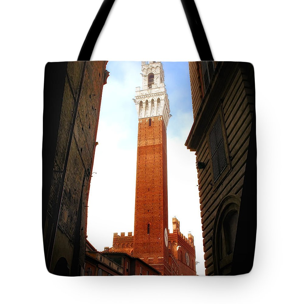 Tower Tote Bag featuring the photograph Torre Del Mangia Siena by Mike Nellums