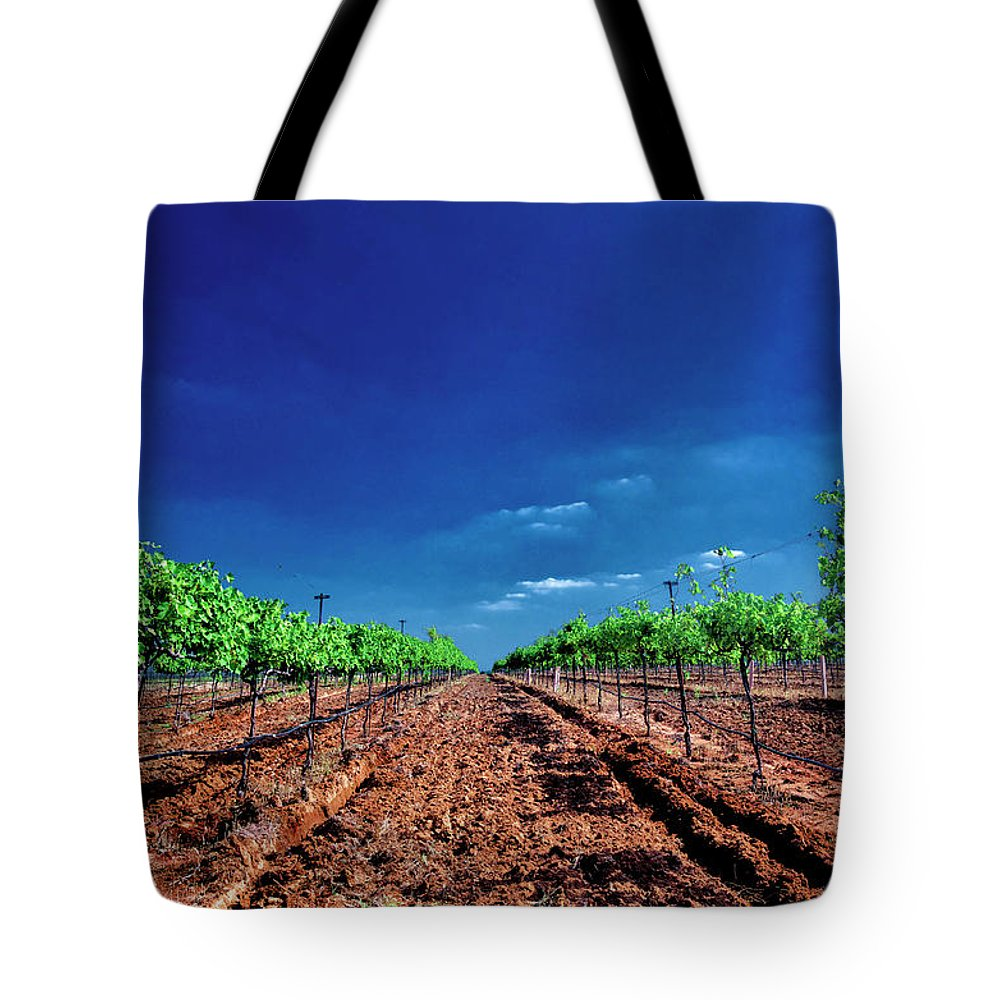 Tranquility Tote Bag featuring the photograph Torre Di Pietra Winery by Dean Fikar
