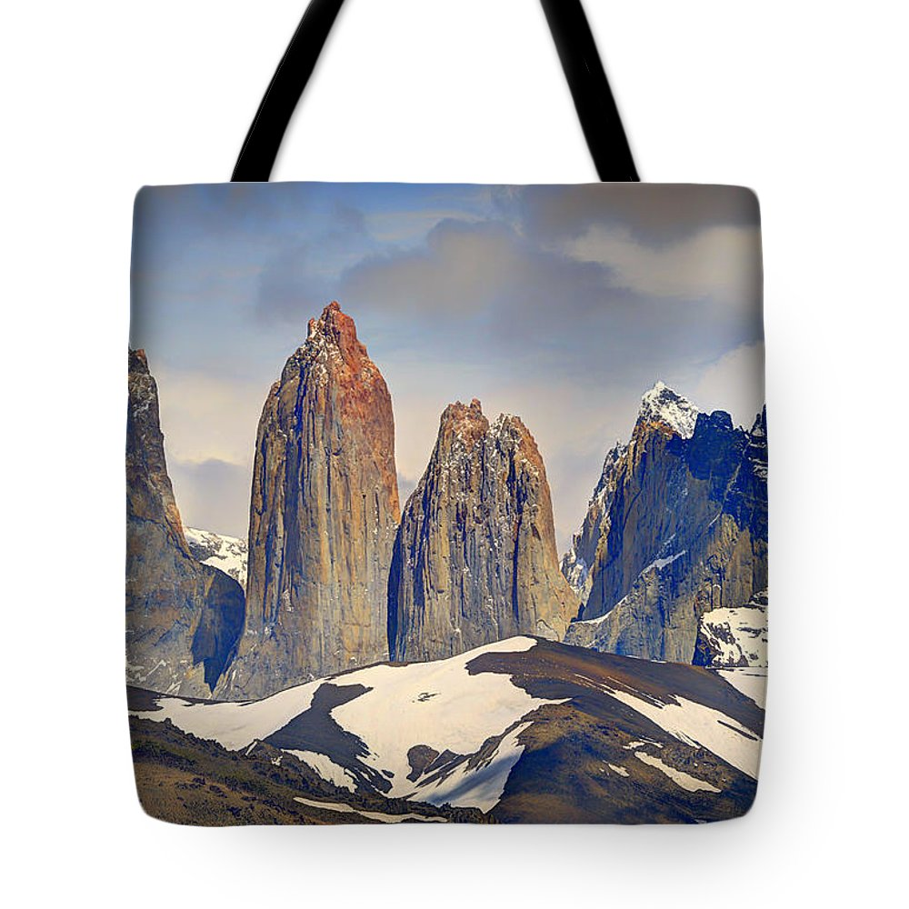 Landscape Tote Bag featuring the photograph Torres Del Paine by Claudio Bacinello