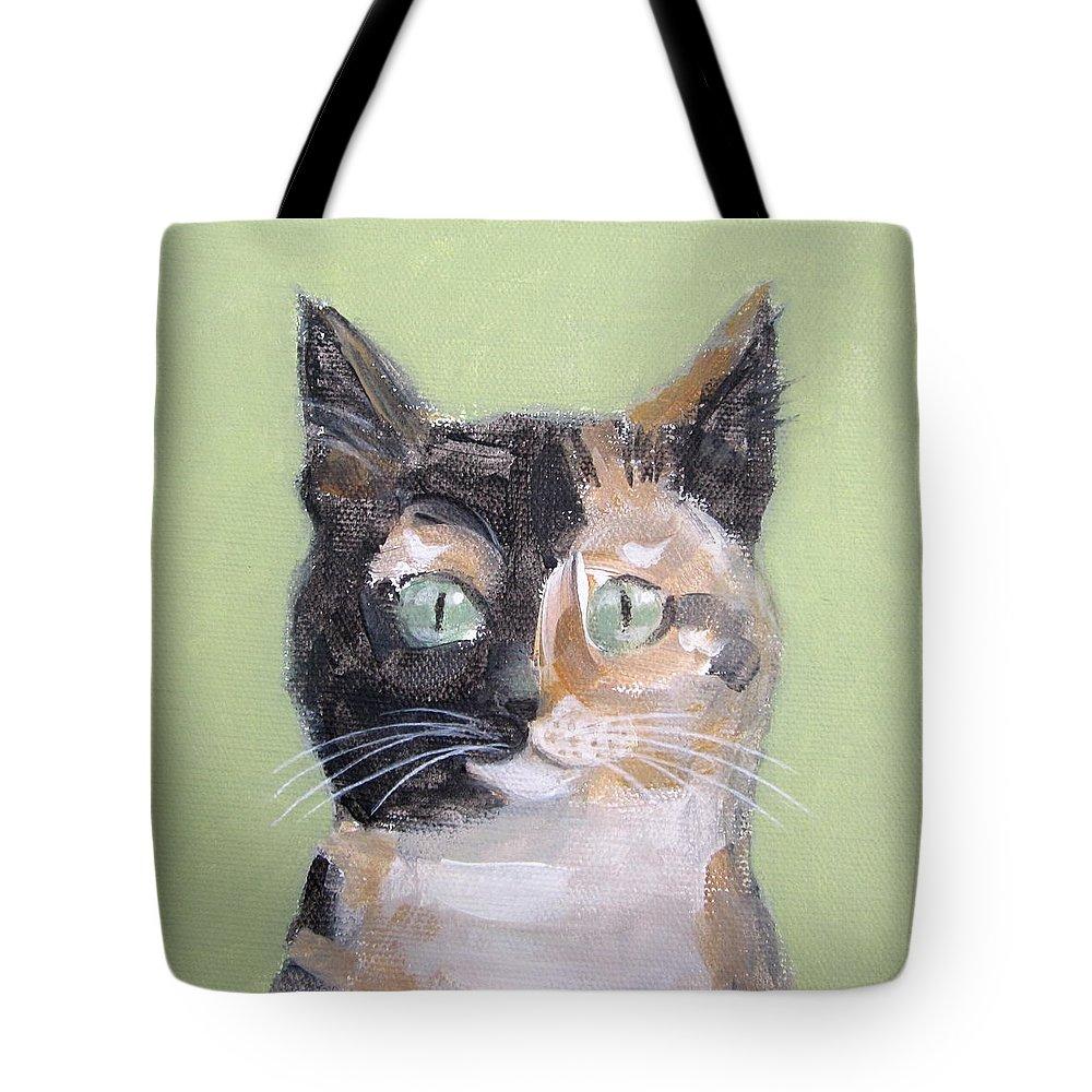 Cat Tote Bag featuring the painting Tortie Cat by Kazumi Whitemoon