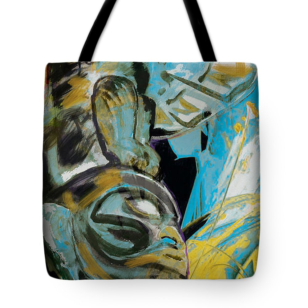 Aboriginals Tote Bag featuring the painting Totem Pole 3 by Corporate Art Task Force