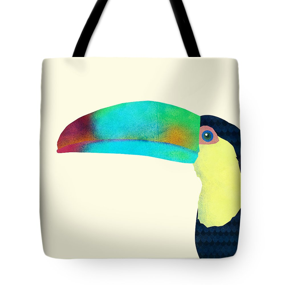 Bird Tote Bag featuring the drawing Toucan by Eric Fan
