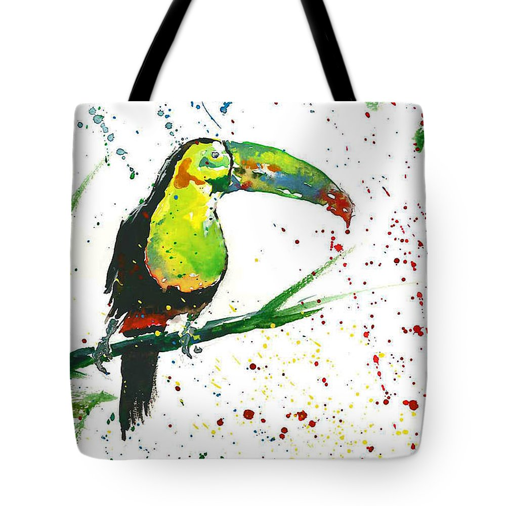Watercolor Painting Tote Bag featuring the painting Toucan by Natalka Kolosok