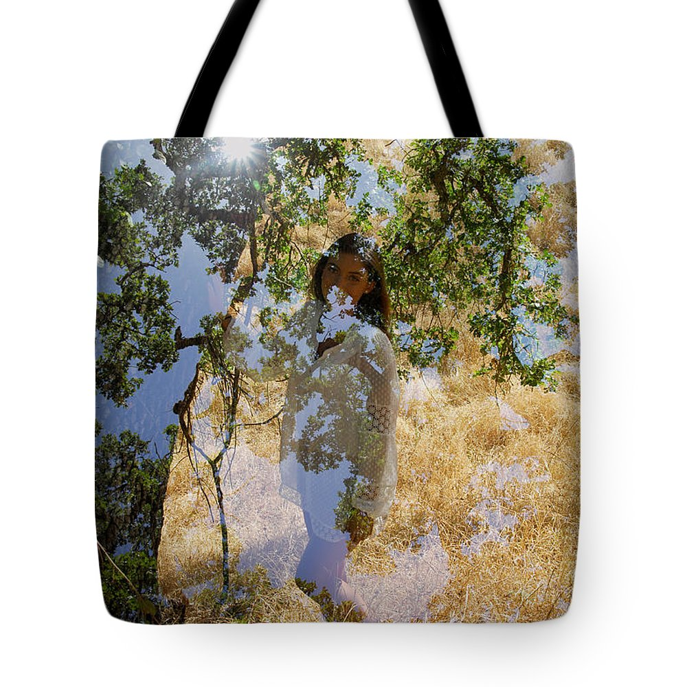 Maiden Tote Bag featuring the photograph Touching Earth by Donna Blackhall