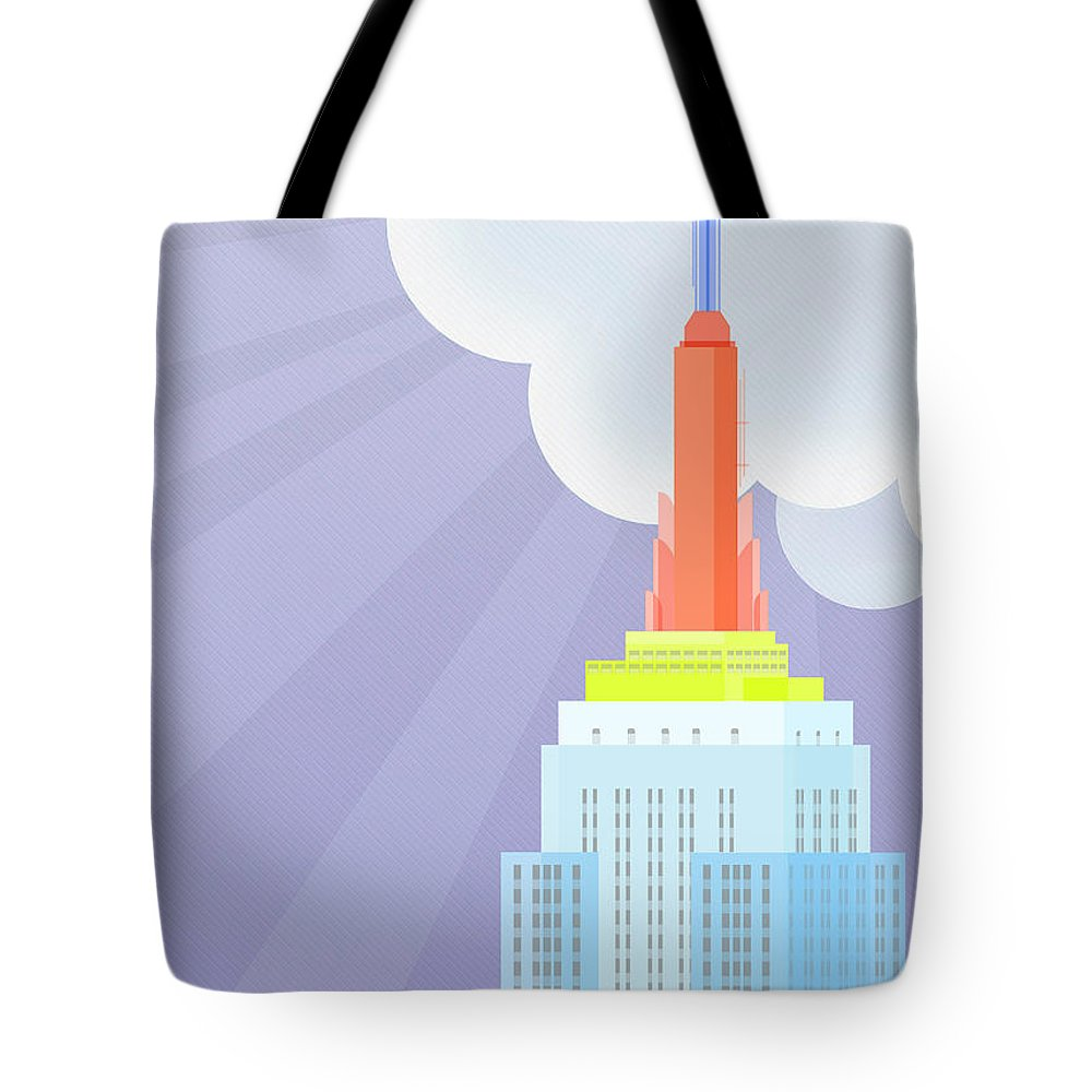 Empire State Building Vector Tote Bag featuring the digital art Touching Heaven by Nishanth Gopinathan
