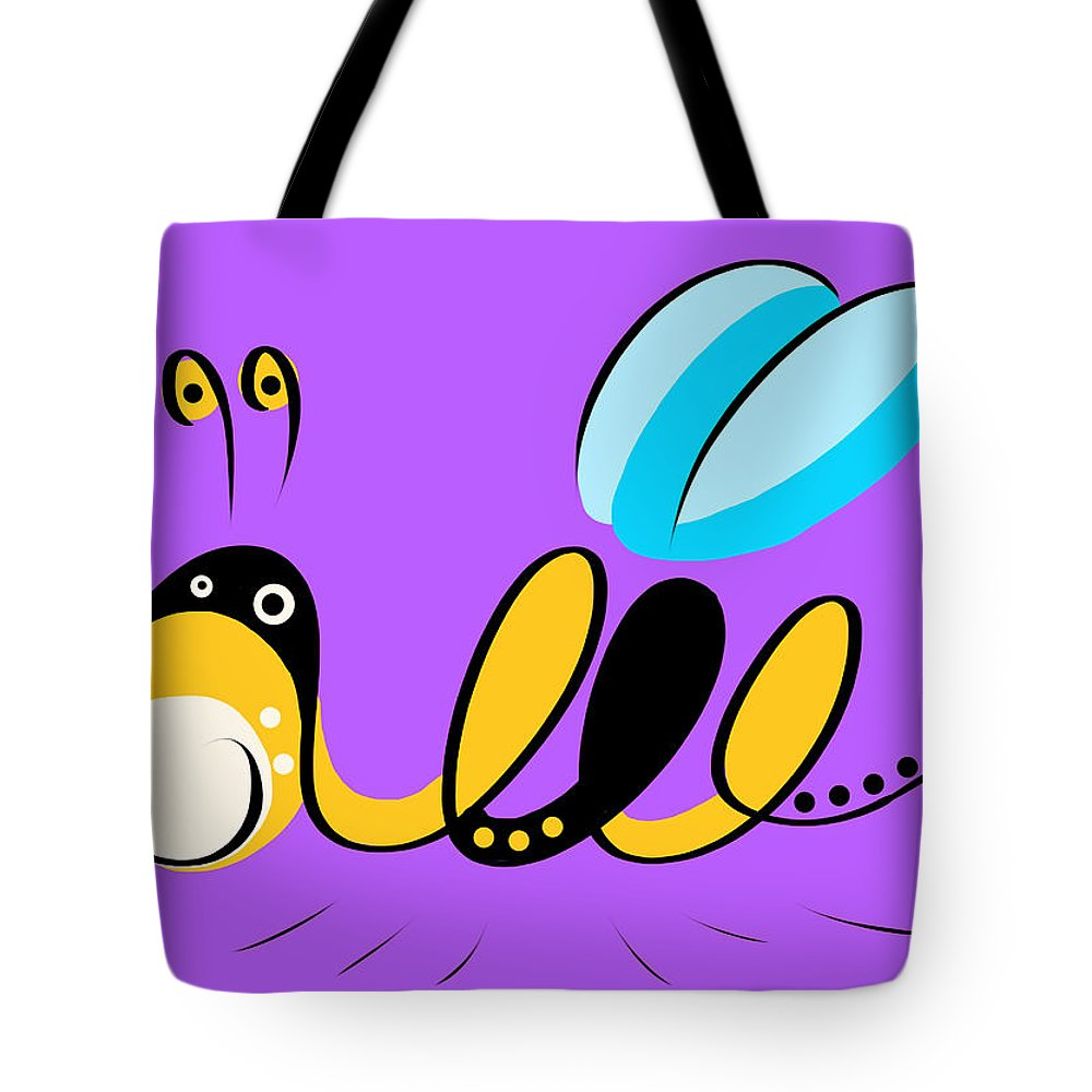 Bee Tote Bag featuring the digital art Thoughts And Colors Series Bee by Veronica Minozzi