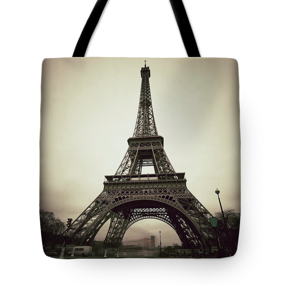 People Tote Bag featuring the photograph Tour Eiffel Of Paris, Vintage by Zodebala