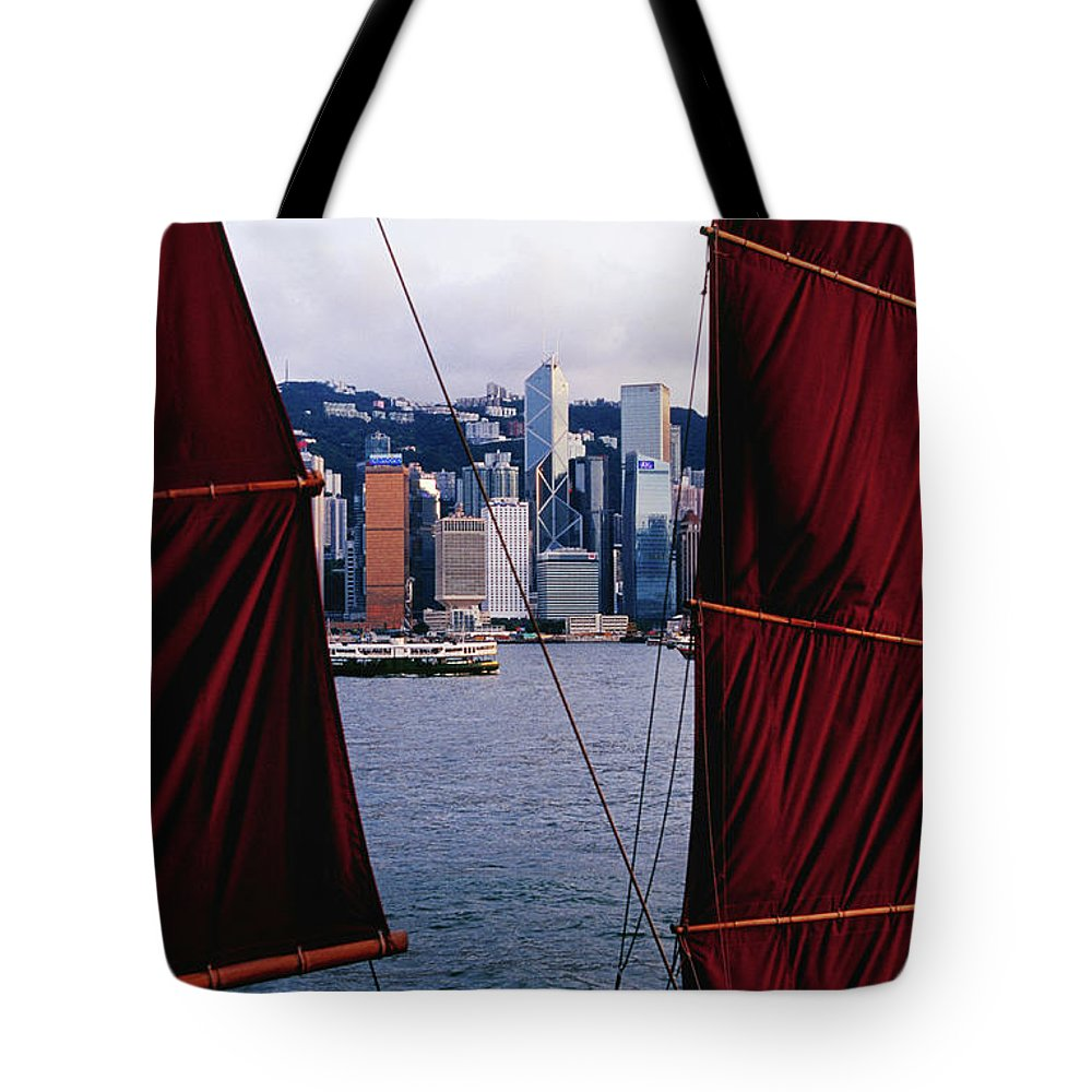 Chinese Culture Tote Bag featuring the photograph Tourist Boat Junk Sails Framing by Richard I'anson