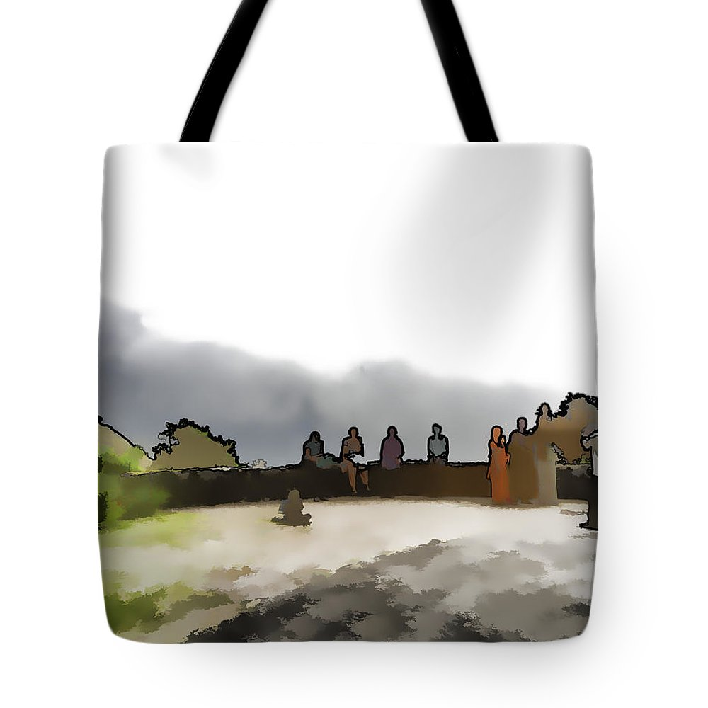 Child On Father's Shoulders Tote Bag featuring the digital art Tourists Posing For Photos by Ashish Agarwal