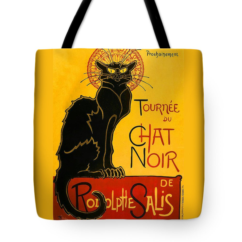 Art Nouveau Tote Bag featuring the painting Tournee Du Chat Noir by Theophile Steinlen