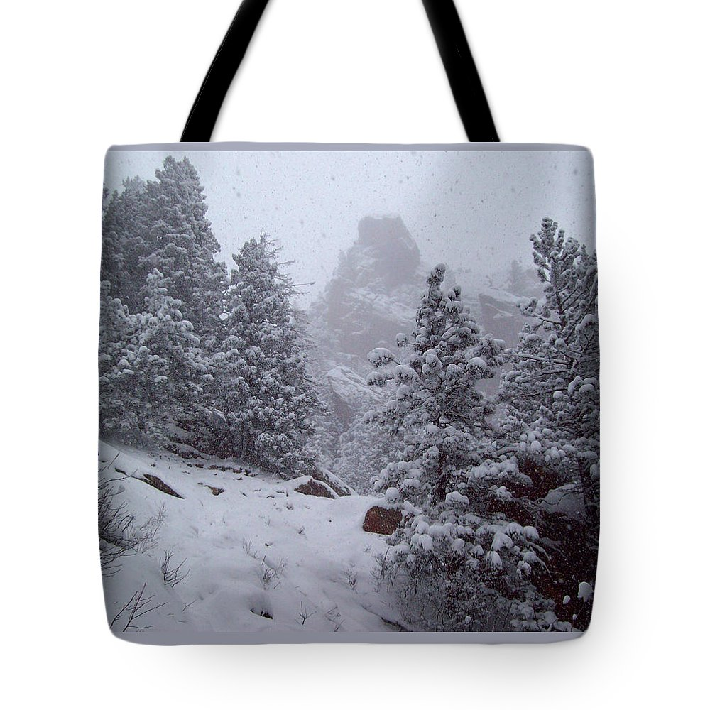 Bear Peak Mountain Tote Bag featuring the photograph Towards Top Of Bear Peak Mountain During Intense Snow Storm - North Side by Daniel Larsen