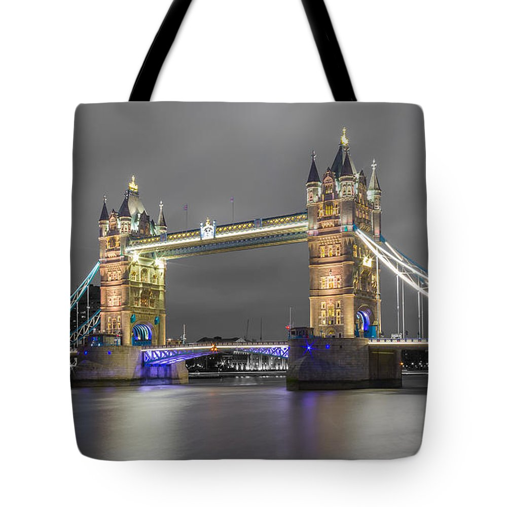 Color Image Tote Bag featuring the photograph Tower Bridge Color Mix by Travel and Destinations - By Mike Clegg