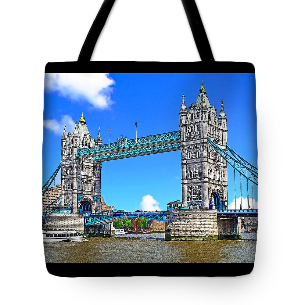 London Tote Bag featuring the mixed media Tower Bridge by Peter Allen