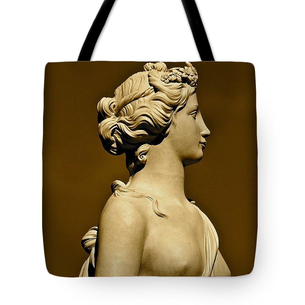 Sepia Tote Bag featuring the photograph Tower Hill Garden Goddess by Michael Saunders
