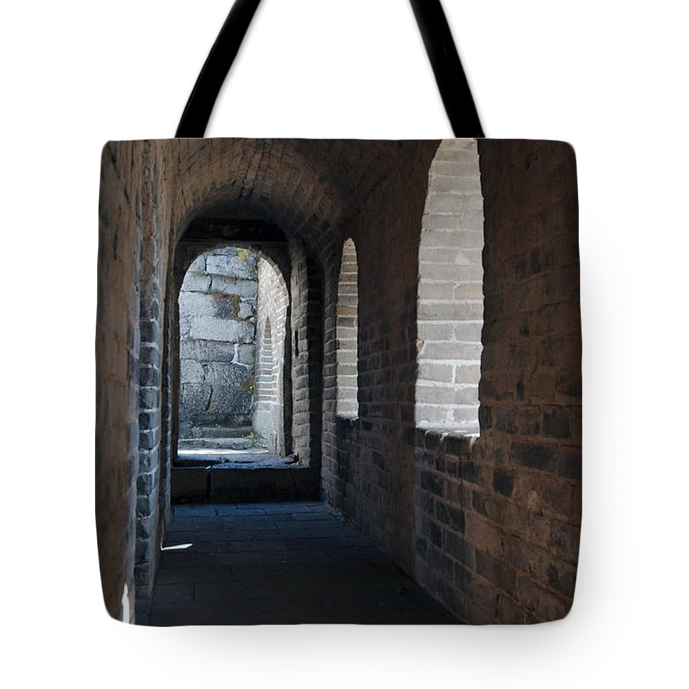 Watchtower Hall The Great Wall Tote Bag featuring the photograph Tower In The Great Wall 695 by Terri Winkler