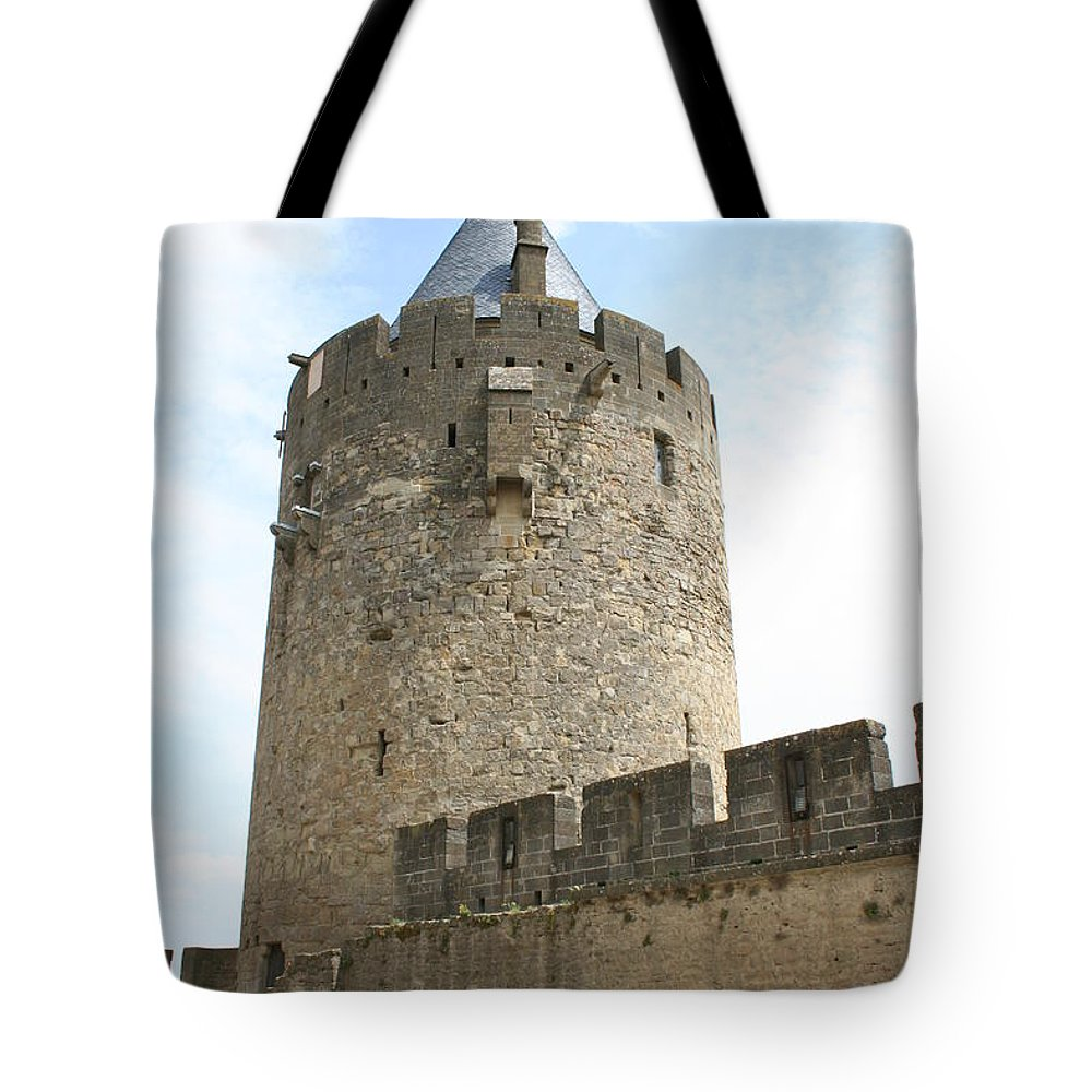 Tower Tote Bag featuring the photograph Tower Town Wall - Carcassonne by Christiane Schulze Art And Photography