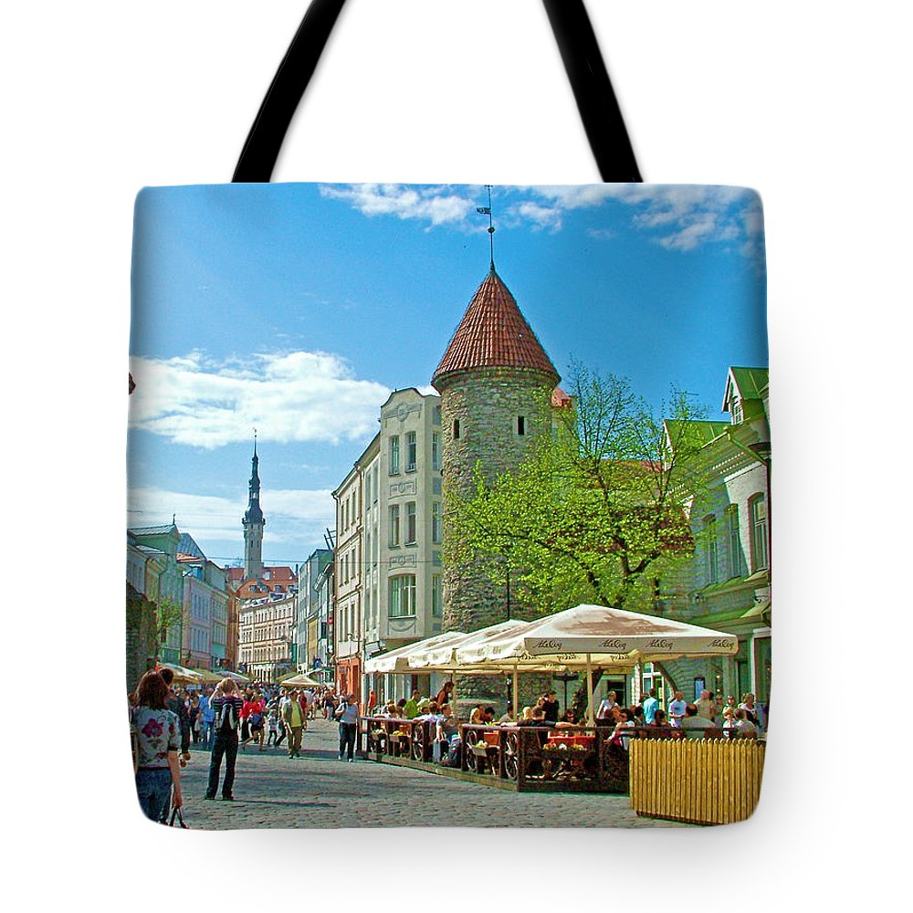 Towers As Gateways To Old Town Tallinn Tote Bag featuring the photograph Towers As Gateways To Old Town Tallinn-estonia by Ruth Hager