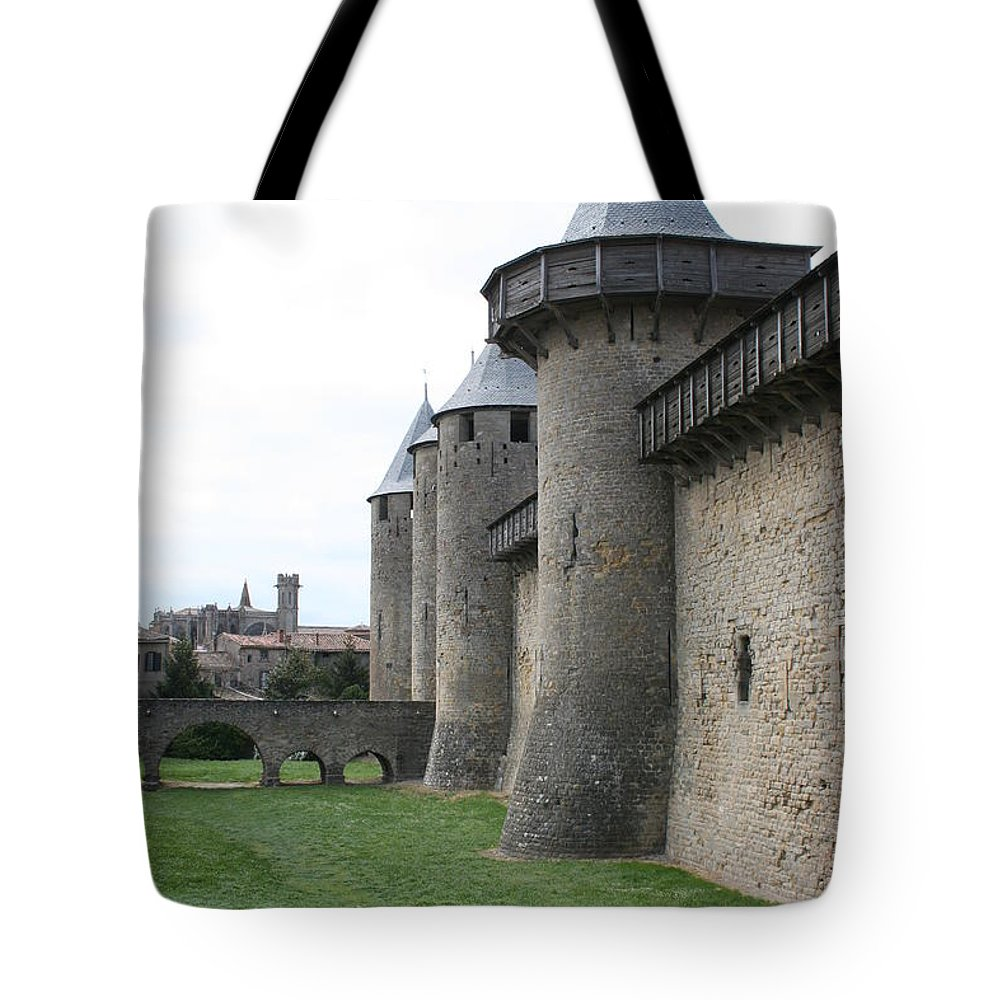 Historic Town Tote Bag featuring the photograph Town Wall - Carcassonne by Christiane Schulze Art And Photography