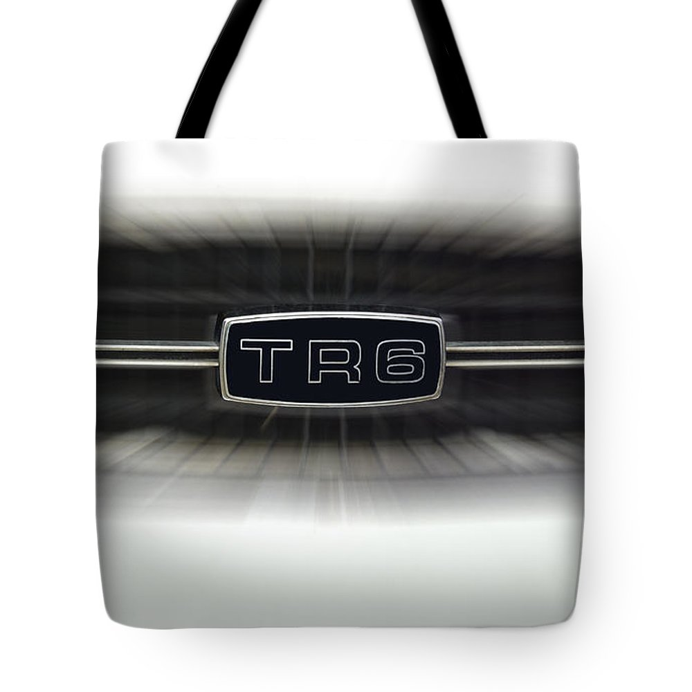 Transportation Tote Bag featuring the photograph Tr6 Emblem by Thomas Woolworth