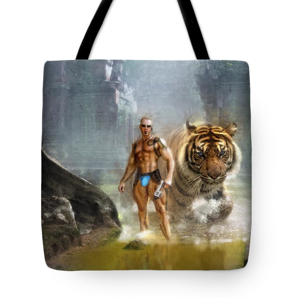 Jim Tote Bag featuring the digital art Tracker by Marcin and Dawid Witukiewicz