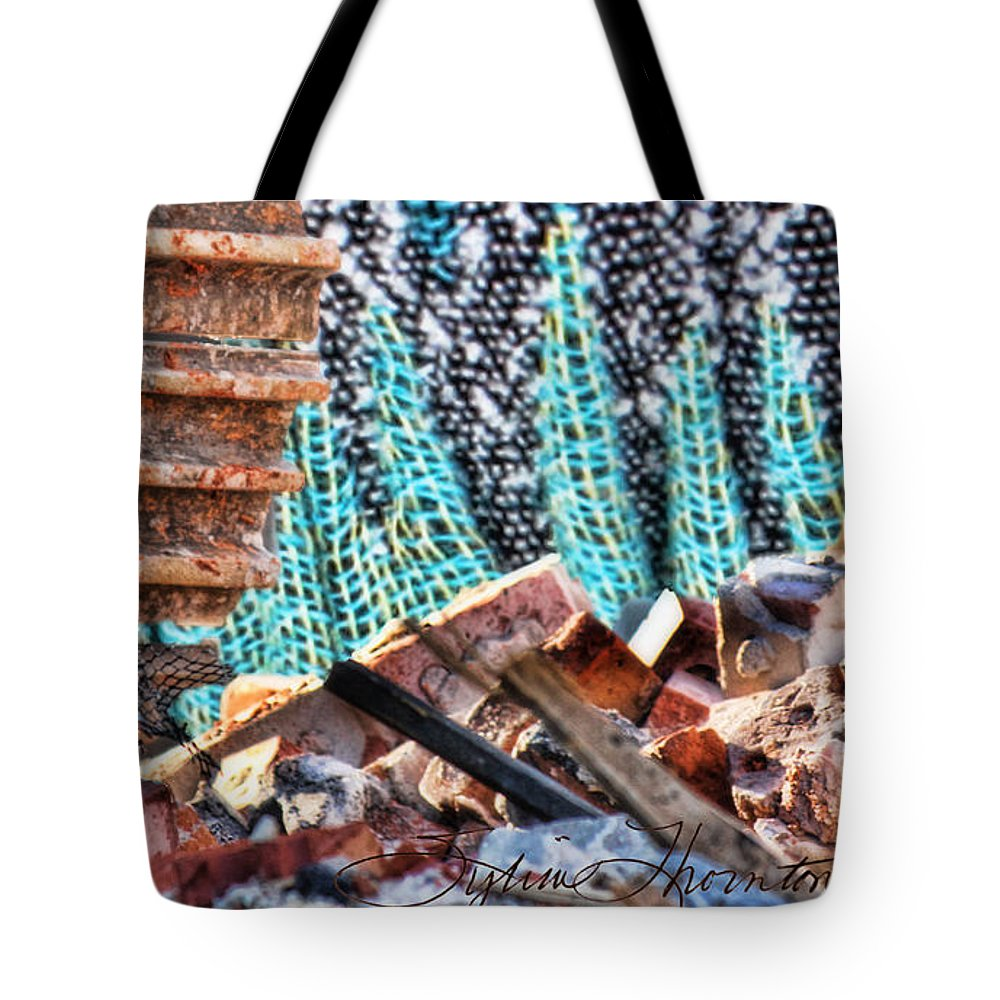 Abstract Art Tote Bag featuring the photograph Tracks And Textures by Sylvia Thornton