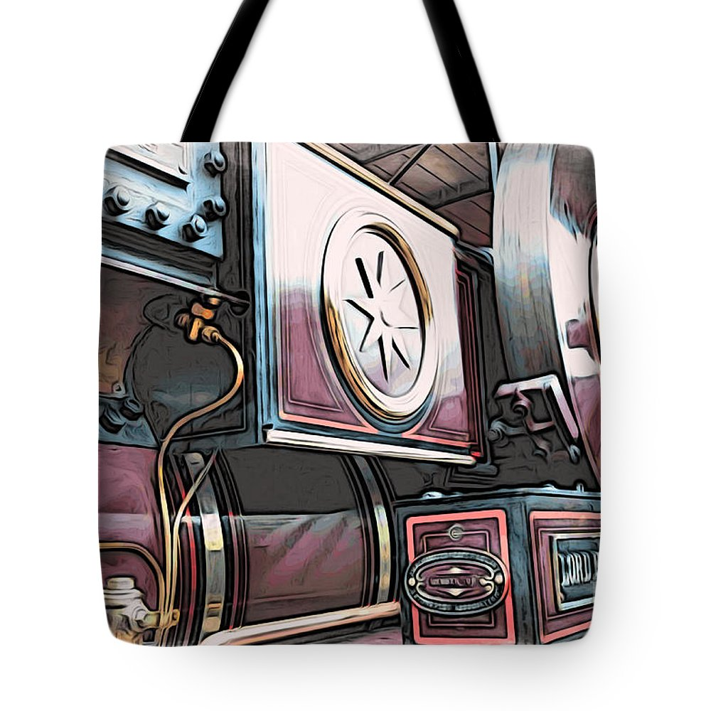 Automotive Tote Bag featuring the digital art Traction Engine 1 by Paul Stevens
