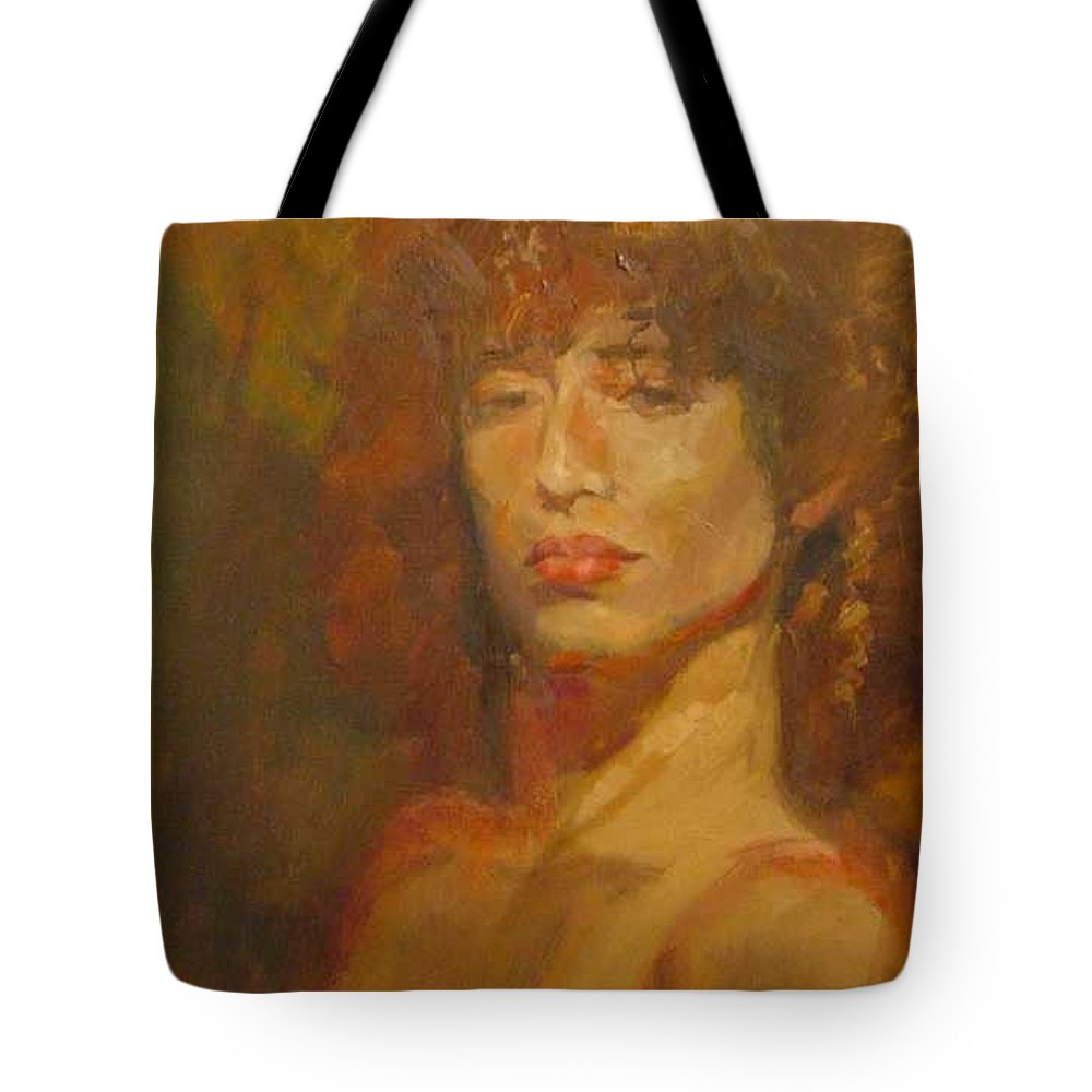Portrait Tote Bag featuring the painting Tracy by Irena Jablonski