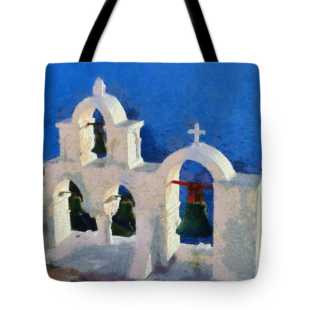 Santorini Tote Bag featuring the painting Traditional Belfry In Oia Town by George Atsametakis