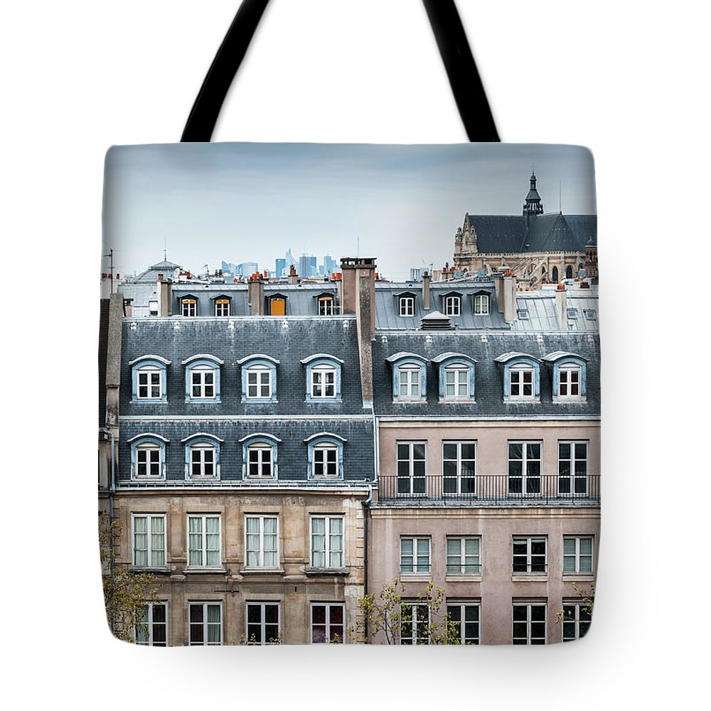 Built Structure Tote Bag featuring the photograph Traditional Buildings In Paris by Mmac72