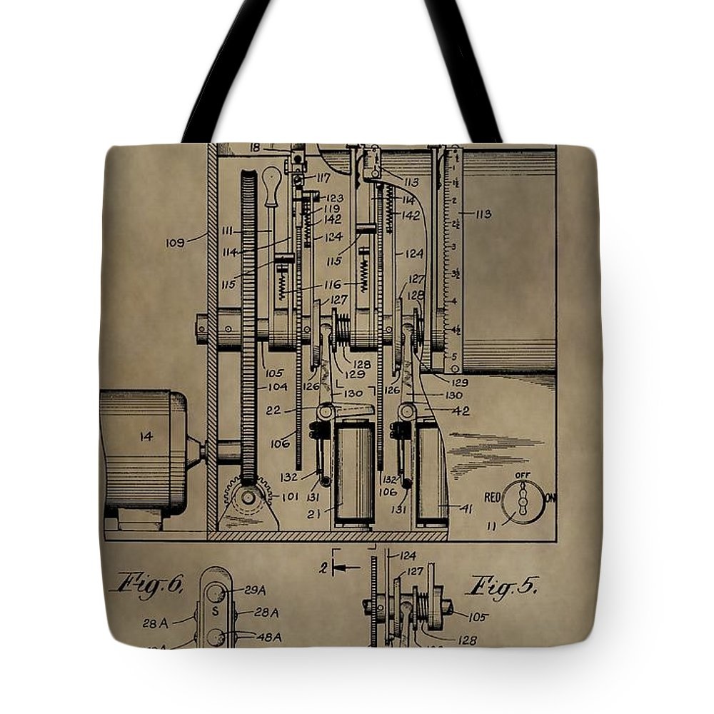 Traffic Signal Patent Tote Bag featuring the mixed media Traffic Signal Patent by Dan Sproul