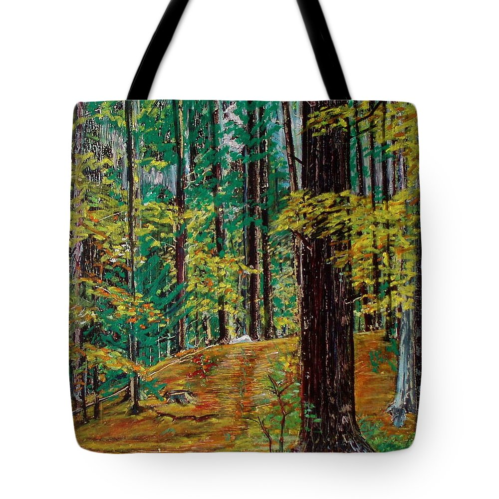 New Hampshire Tote Bag featuring the pastel Trail At Wason Pond by Sean Connolly