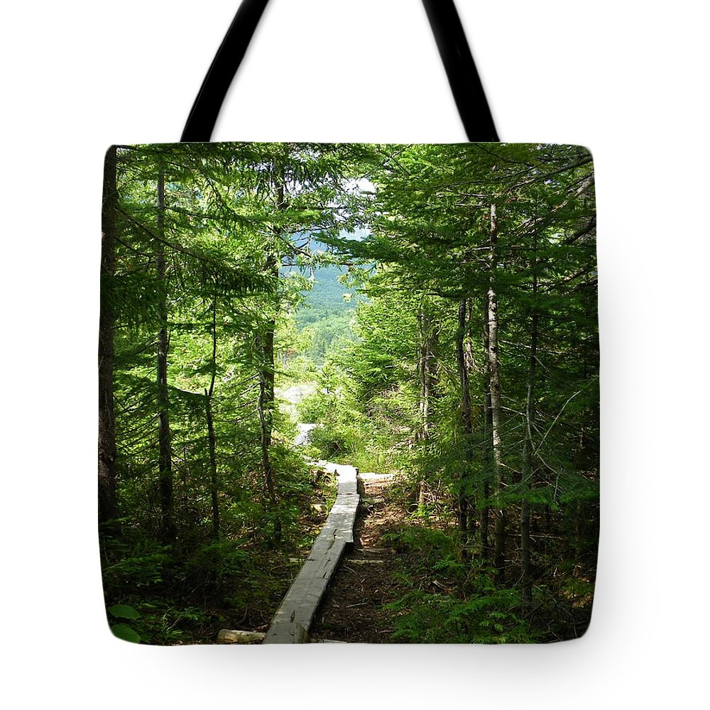 Wilderness Tote Bag featuring the photograph Trail To Sandy Stream Pond by Georgia Hamlin