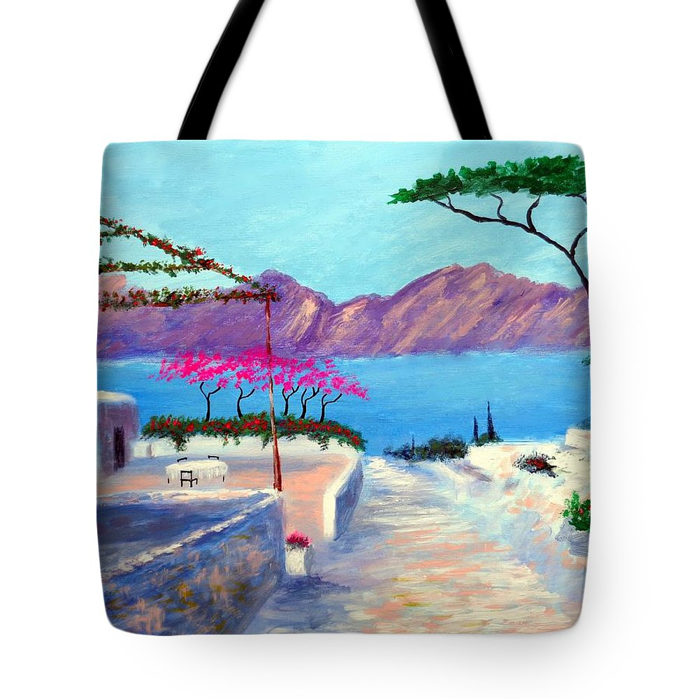 Trails Of Greece Tote Bag featuring the painting Trails Of Greece by Larry Cirigliano