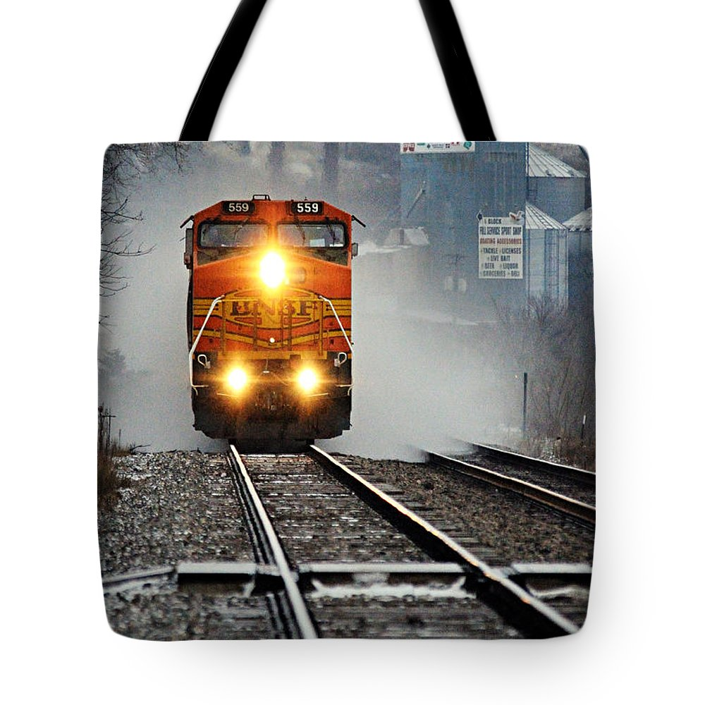 Photography Tote Bag featuring the photograph Train At Alma Wi by Larry Ricker