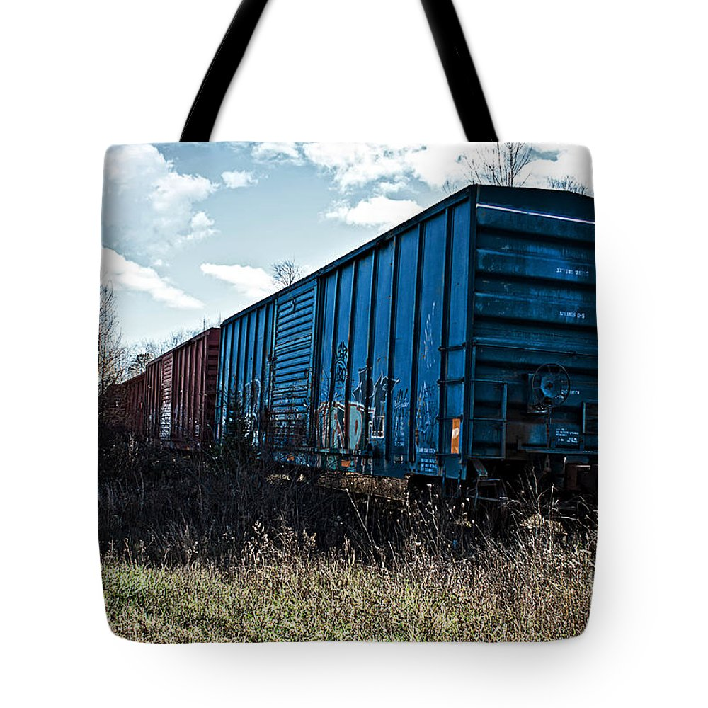 Boxcar Tote Bag featuring the photograph Train Boxcars by Ms Judi