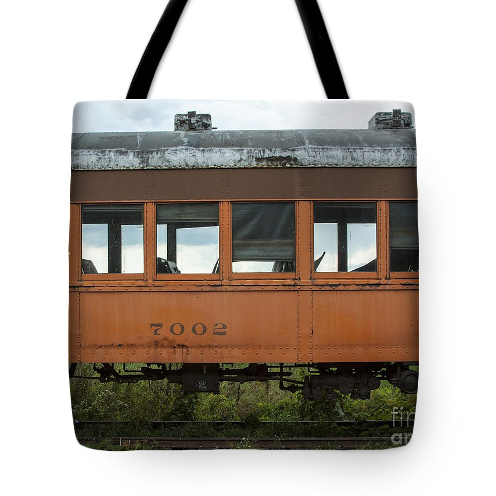 Train Tote Bag featuring the photograph Train Coach Windows by Darleen Stry