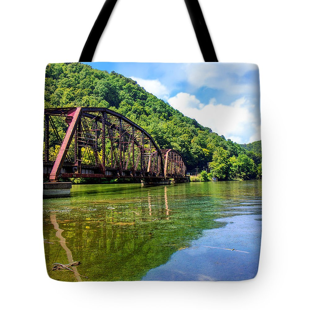 Hawks Nest State Park Tote Bag featuring the photograph Train Trestle Bridge by Mary Almond