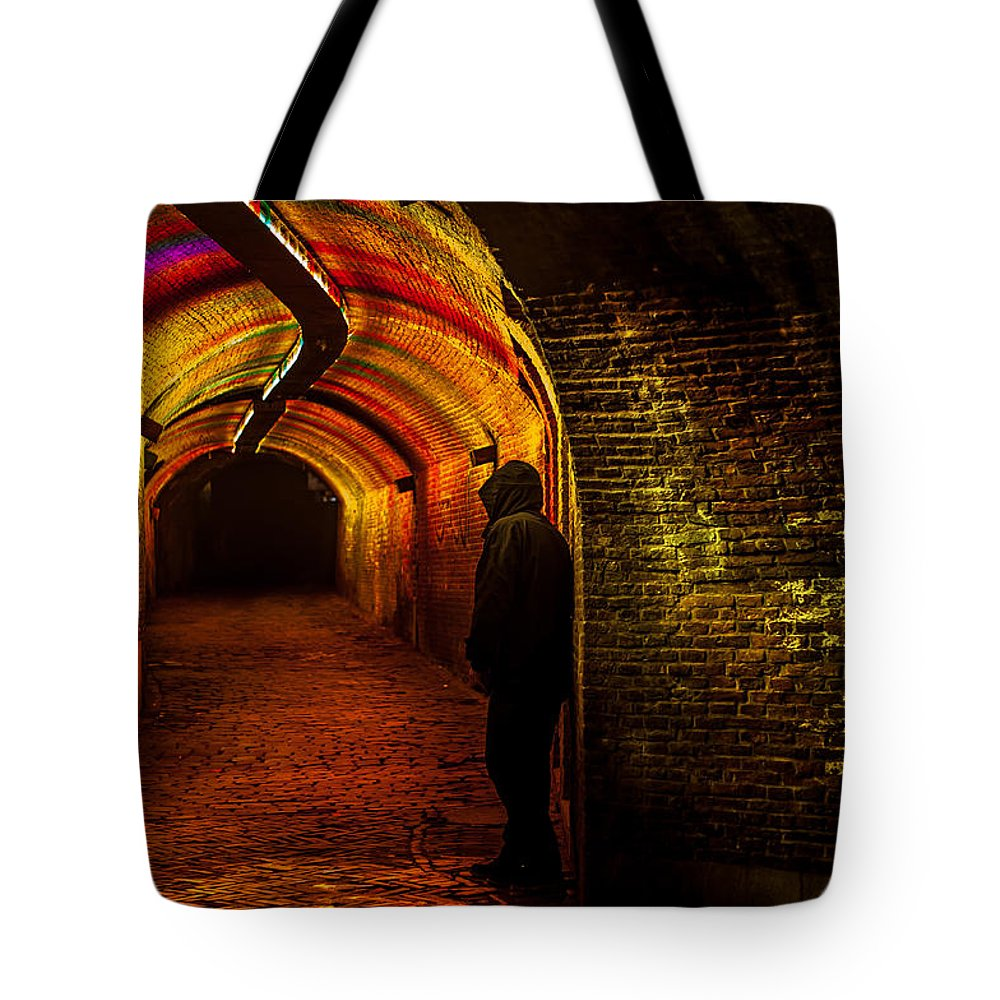Netherlands Tote Bag featuring the photograph Trajectum Lumen Project. Ganzenmarkt Tunnel 9. Netherlands by Jenny Rainbow