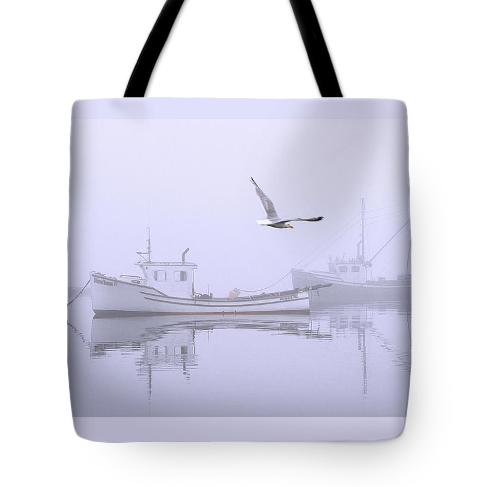 Tranquil Fog Tote Bag featuring the photograph Tranquil Morning Fog by Marty Saccone