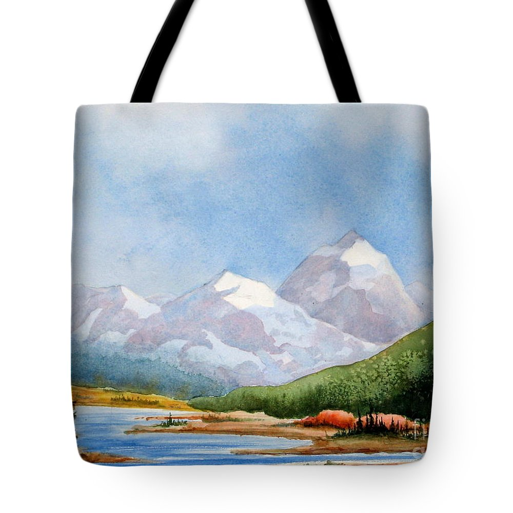 Alpine Tote Bag featuring the painting Tranquil by Mohamed Hirji