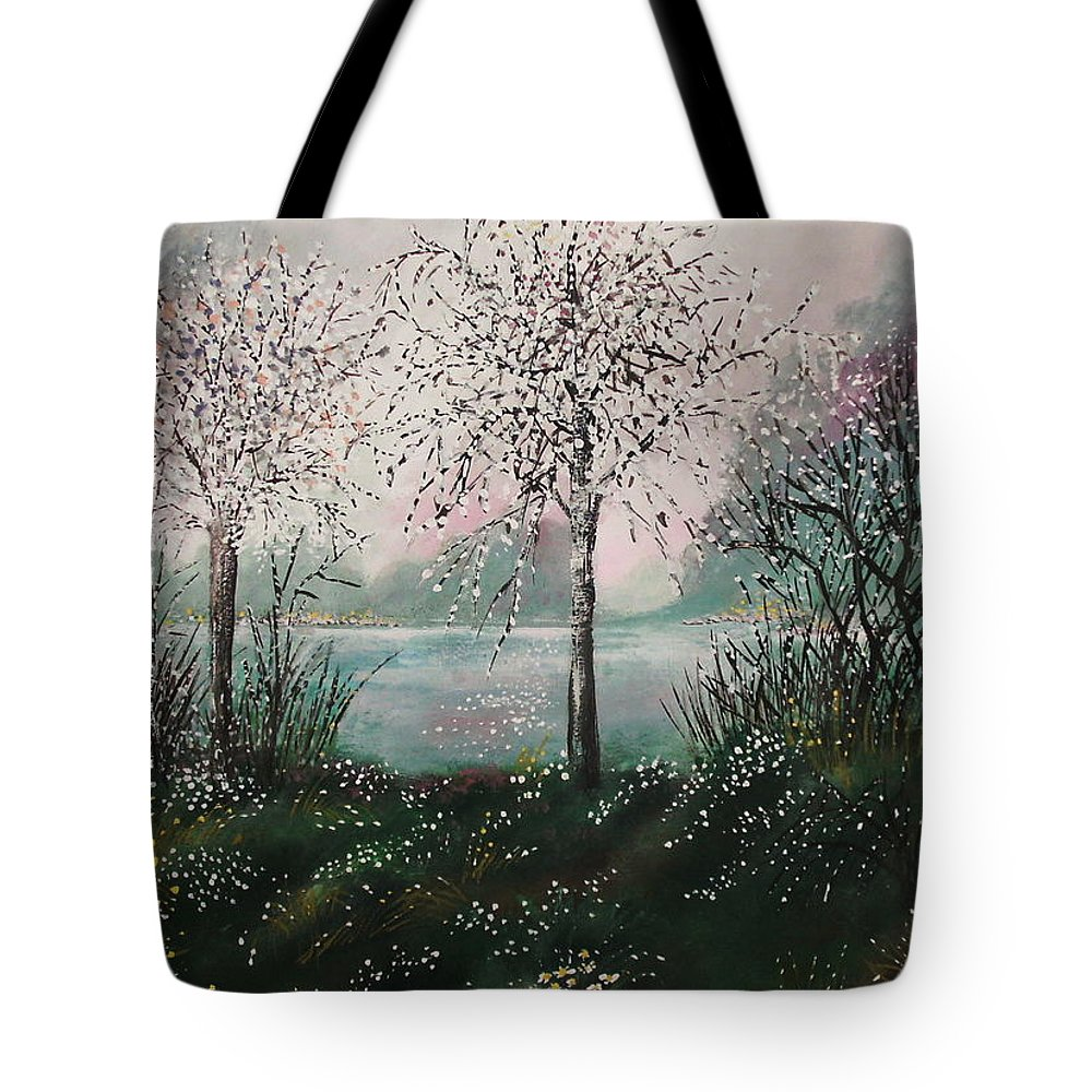 Landscape Tote Bag featuring the painting Tranquil Moments by Milenka Delic